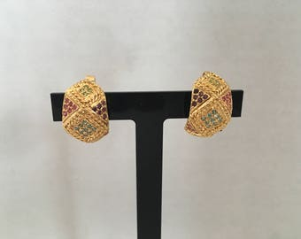 Vintage Signed D'ORLAN 22K Gold Triple-Plated Finish with Rhinestone Clip On Earrings