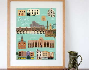 Retro Style Art Print of The Rocks area in Sydney