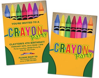 Crayon Birthday Invitation, Party Invitations