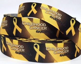 """Grosgrain Ribbon 1.5"""" & 7/8""""  CHILDHOOD CANCER Awareness CH2  Sold  By The Yard  USA Seller Printed"""