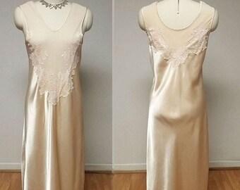 SALE Luxurious Ivory Latte Satin Lace Illusion Nightgown 90s nightgown 80s nightgown designer nightgown lace nightgown satin nightgown ivory