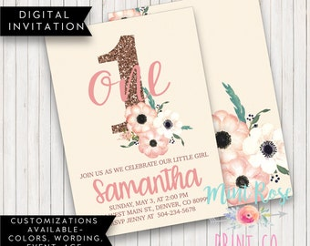 PINK AND GOLD Birthday - 1st First Birthday Invite - Girl Birthday Invitation - Floral Birthday - Gold Glitter Invite - 2nd Birthday Invite