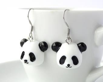 Cute black and white panda dangle earrings animal lover charms nature panda lover gift children adult earrings