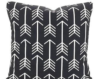 Black White Pillow Cover, Decorative Throw Pillows, Cushions Black and White Arrow Euro Sham, Couch Bed Sofa, One or More ALL SIZES