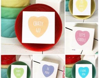 Sale! Selah Signs Conversation Heart miniblocks Candy Hearts Valentines Day