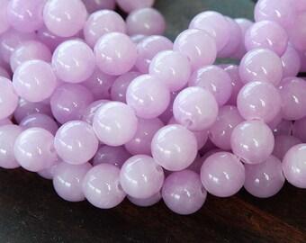 Mountain Jade Beads, Lilac, 8mm Round - 15 Inch Strand - eMJR-M09-8