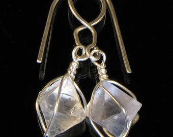 Clear FLUORITE Octahedrons, Cave in Rock, Illinois, Argentium SILVER Handmade Wire Wrapped Dangle Earrings Intuitivelyinspired STATS Sale