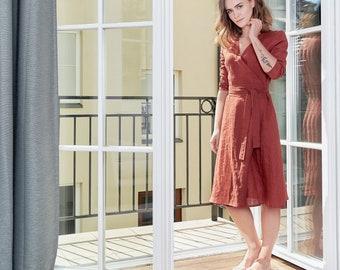 Linen Dress. Soft linen wrap dress. Long sleeves dress. Orange dress. Midi dress. Leisure dress. Party dress. Flax dress. Linen sundress.