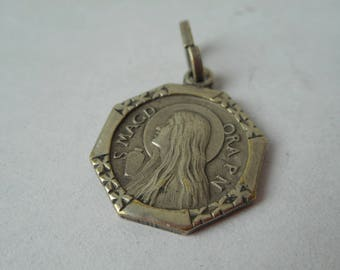 stunning vintage French silver plated metal religious necklace pendant