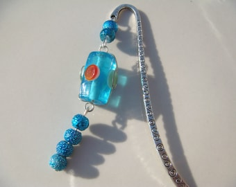 Handmade Blue Wire Wrapped Glass Bead Book Mark Bookmark