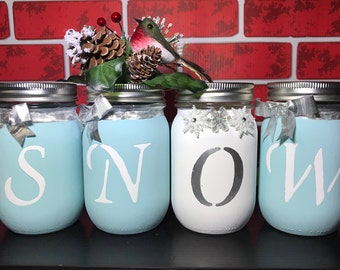 SNOW Winter Christmas Holiday Center Piece Pint Size Mason Jars Set of Four (4)