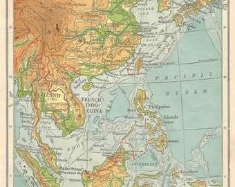 Taiwan old map etsy china map japan taiwan mongolia asian map oriental vintage map home decor art travel old maps gumiabroncs Image collections