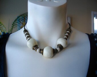 Vintage Leather, Brass and White stone choker-style necklace - 16.5 inches  - Games of Thrones // Khaleesi-Style
