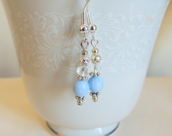 Blue Lace Agate Dangle Earrings, Sterling Silver