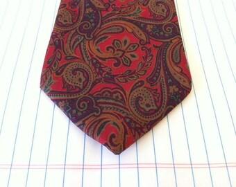 Liberty Of London Tie - Liberty Tie - Red Paisley Ties - Red Archival Print, Vintage Men's Necktie, Liberty Paisley Tie - Red - Pure Silk