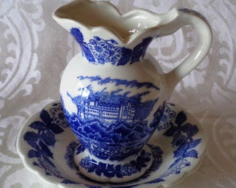 Vintage Mid-Century Miniature Blue and White Scenic Village Transferware China Footed Pitcher and Bowl