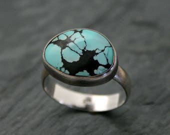 Turquoise Sterling Silver Ring, One of a Kind Ring, Southwest Minimalist Silver Jewelry, Statement Turquoise Ring, December Birthstone Ring