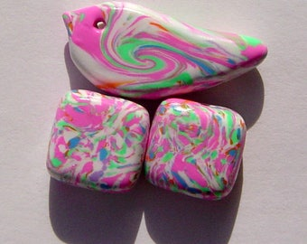 Colorful Clay Spring Bird Focal Artisan Polymer Clay Bead Set with Focal and 2 Square Shaped Art Beads (3 Beads)