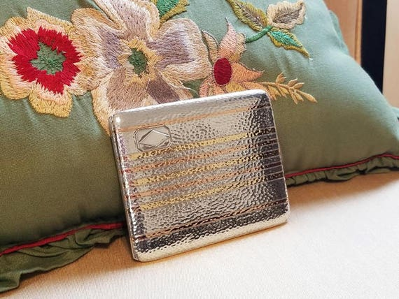 4.2 ounce Vintage Art Deco signed Napier sterling silver 14K rose and yellow gold cigarette case, tobacciana, smoking, business card case
