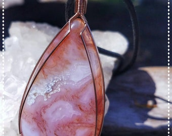 """Intense Red Moss & Orb Agate Pendant Hand Wrapped in 14/20 Rose Gold Fill Wire with a 22"""" Black Necklace. Bohemian Wanderlust Gypsy  Amulet"""