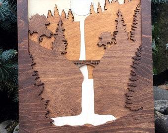 Multnomah Falls Oregon / 3D Shadow Box Wood Scene / Laser Cut, Inlaid, Etched/ Landmark / Waterfall / Forest / Bridge / Columbia River Gorge