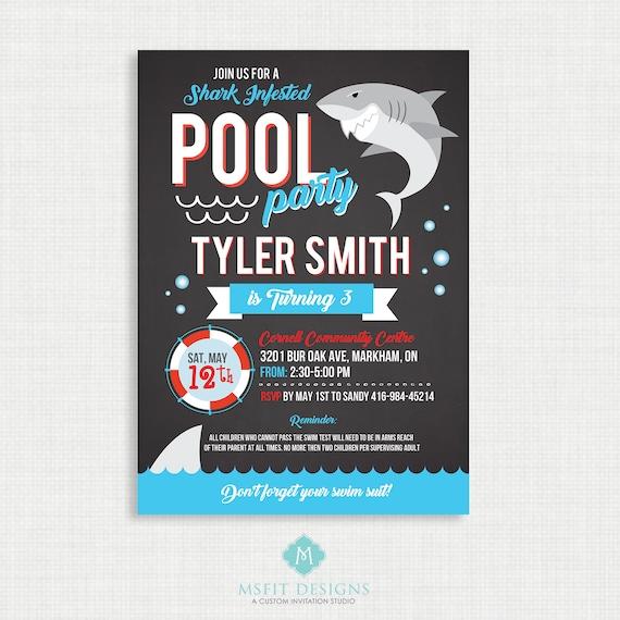 Shark Party Invitation, Shark Pool Party, Shark Birthday Invitation, Birthday Party, Pool Party Invitation, Shark Party, Printable