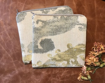 Recycled Fabric Cosmetic Bag, Upholstery Sample Zipper Pouch,