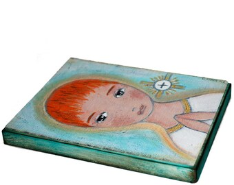 First Communion Boy -  Giclee print mounted on Wood (6 x 8 inches) Folk Art  by FLOR LARIOS