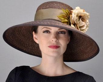 Wedding Hat, Church Hat, Derby Hat, Brown Formal Hat, Wide Brim Hat, Brown Hat