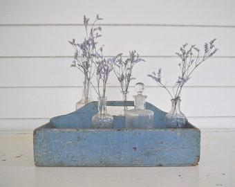 Vintage Blue Wooden Tote