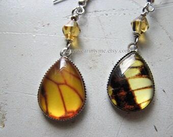 Butterfly wings   dangle earrings   faux   silver   yellow   mismatched earrings   final sale