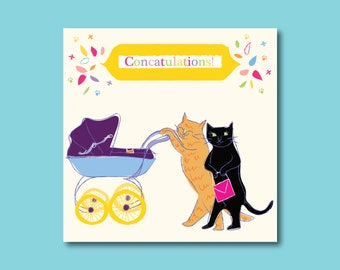 Fun Cat Themed 'Congratulations On Your New Baby' Card