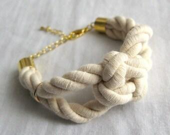 sailor knot bracelet in natural and gold
