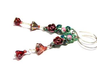 Long Rose dangle earrings, hand painted dangles with roses, recycled , floral earrings
