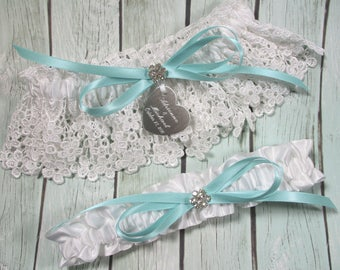 Personalized Aqua Robin's Egg Blue Wedding Garter Set in White Lace with Engraving a Bow and Rhinestones