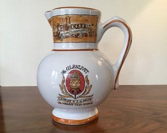 Vintage Pottery Glenlivet Scotch Handled Pitcher, Flower Vessel Vase, made in France by REVOL