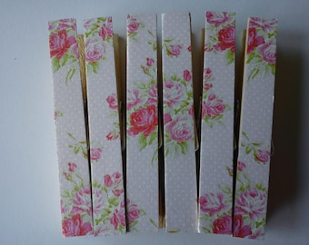 Tanya Whelan Red Roses on Peach Magnetic Clothespins