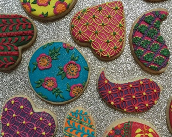30 Mixed Biscuits - Indian Bollywood Henna Mehndi Biscuit Cookies
