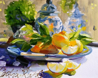LEMONS AND DELFT Art Print of Original Oil Painting, Lemons and Delft