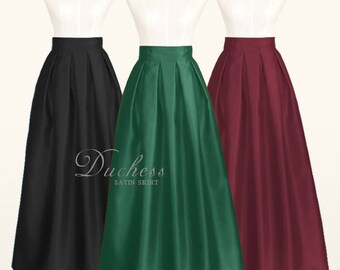 Duchess satin fully lined pleated long skirt with pockets - custom size ankle maxi floor length ball gown skirt in black dark green navy red