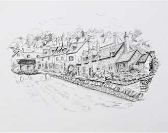 Caren Taylor *ORIGINAL* Pen and Ink Artwork  **Snowshill The Cotswolds** UK A beautiful little hidden gem of a village that I love to visit