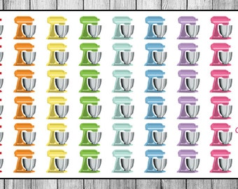 Rainbow Stand Mixer Planner Stickers