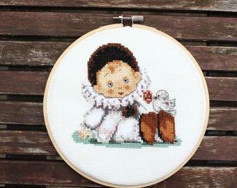 Cross stitch hoop, Ragdoll, Pierrot doll