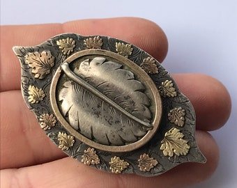 Large silver Victorian 1800s leaf mourning brooch or pin with hidden glass locket section to rear