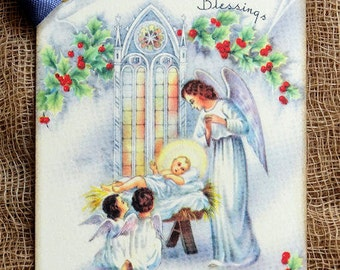 Christmas Blessings Nativity Gift or Scrapbook Tags or Magnet #34