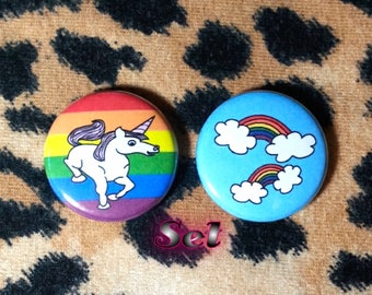 LGBT Rainbows and Unicorns Buttons - Set of 2
