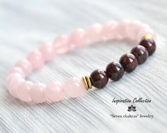 Rose Quartz Bead Bracelet Women Garnet Beaded Jewelry Gemstone Bracelet Gift For Women