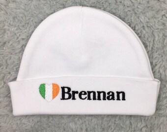 Personalized newborn hat with Irish flag - micro preemie hat, custom preemie hat, - Irish baby hat, baby shower gift, Irish baby gift