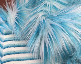 Toothpaste -  quality dense blue and white multi tonal fluffy synthetic fur fabric -1m piece