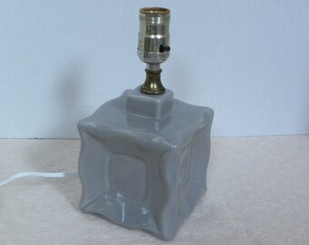 Vintage Mod Small Grey Ceramic Lamp -- Square Box Style -- Excellent working condition
